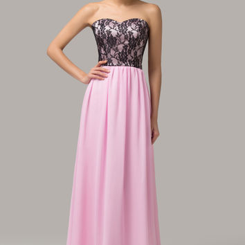 Pink Strapless Floral Mesh  Lace Maxi Evening Dress