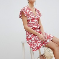 PrettyLittleThing Embroidered Broiderie Dress at asos.com