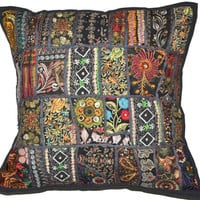 20x20 Black Decorative Throw Pillow for Couch, Indian Patchwork Pillow, Cushion Cover, Toss Pillow Vintage Pillow, Bedroom Appliqued Pillow