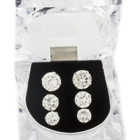 925 Sterling Silver Four Prong 6, 7 and 8mm Cubic Zirconia Stud Earrings Set
