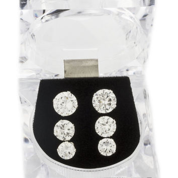 Real 925 Sterling Silver Four Prong 6, 7 and 8mm Cubic Zirconia Stud Earrings Set