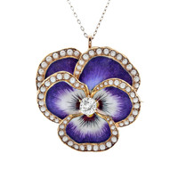 "Victorian Diamond Pearl Enamel ""Pansy"" Gold Pendant/Brooch"