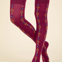 Stems For Your Stems Thigh Highs in Berry | Mod Retro Vintage Socks | ModCloth.com
