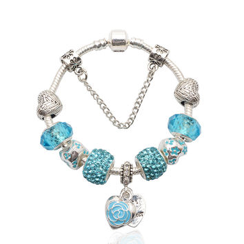 2015 New Design 925 Silver Jewelry DIY Charm Beads Fits Pandora Bracelet Femme With Murano Glass&Crystal Beads Pulseras