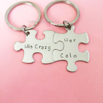 Christmas Source His Her Puzzle Keychain On Wanelo