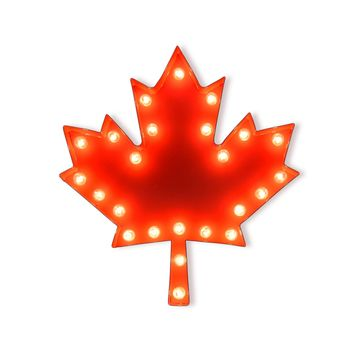 Maple Leaf Vintage Marquee Lights Sign (Red Finish)