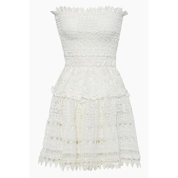 Vallarta Guipure Mini Lace Dress - White