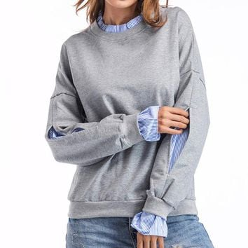 Crew Neck Long-Sleeve Pullover Cotton Sweatshirt