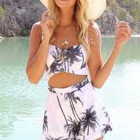 Palm Tree Cut-Out Romper