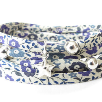 Liberty of London fabric wrap bracelet in purple, teal and cream petite florals, cottage chic fabric jewelry for women