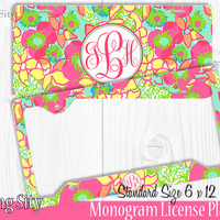 Mint Ice Floral Monogram License Plate Frame Holder Metal Wall Sign Tags Personalized Custom Vanity Plate