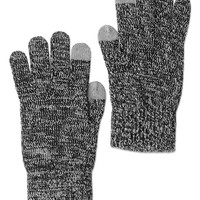 True Religion 2 Tone Touchscreen Knit Glove - Black