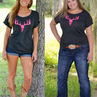 Womens neon pink deer hunting shirt