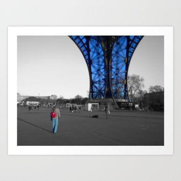 tourist Eiffel tower Paris black and white with color splash Art Print by Mr Splash