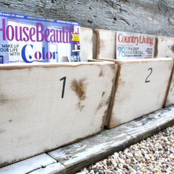 FREE SHIP Set of 4 Office File Magazine Rack Wall Hanging Painted Distressed Wood Box