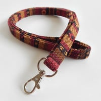 Woven Lanyard / Boho Keychain / Indian Blanket Inspired / Bohemian / Key Lanyard / Brown / Woven Stripe Fabric / ID Badge Holder