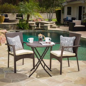 Christopher Knight Home Elba Outdoor 3-piece Wicker Bistro Set with Cushions   Overstock.com Shopping - The Best Deals on Bistro Sets