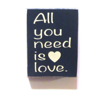 All you need is love wood decorative magnet - refrigerator decal - office magnet