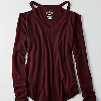 AEO Soft & Sexy Plush Cold Shoulder T-Shirt , Burgundy