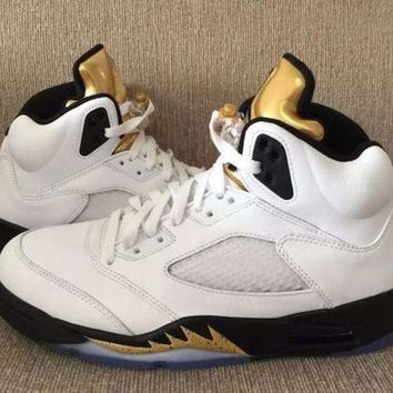 Air Jordan Retro 5 Olympic Basketball Shoes Men And Women 5s Olympic Gold Tongue Metal
