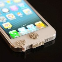 White Bling Luxary Crystal Diamond Anti Dust Dock Charger Port Plug+Ear Plug+Home Button For iPhone 5 5G