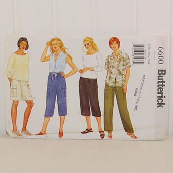 Butterick 6600 Women's and Women's Petite Top, Shorts and Pants (c. 2000) Women's Sizes 22W, 24W, 26W, Plus Size Summer Clothes, Casual Wear
