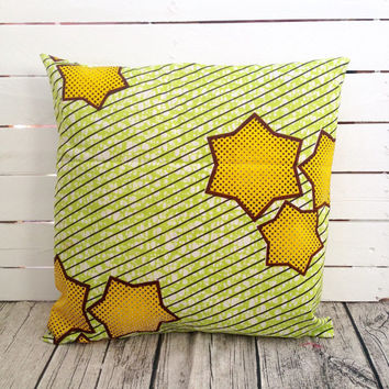 African Cushion pillow cover, African wax print  (17 inch) Green Yellow