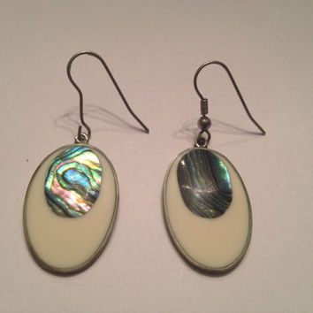 Vintage Alpaca Silver White & Abalone Inlay Dangle Earrings Mexican Boho Jewelry