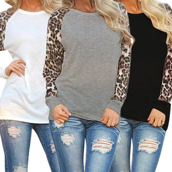 Fashion Women Patchwork Leopard Print Chiffon Casual Long Sleeve Lady Tops Shirt