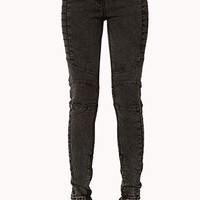 Zippered Acid Wash Moto Jeans