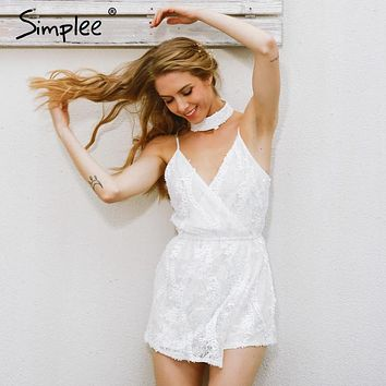 Simplee Sexy halter sequined jumpsuit romper Chic deep v neck white lace  playsuit women Summer sleeveless party club overalls
