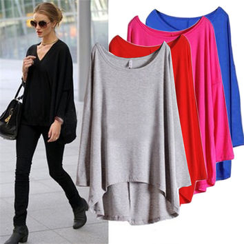 2016 New Autumn Batwing long Sleeve Women T Shirts Casual Loose Ladies Tops Round Neck Womens Tees Fashion tshirt Female clothes