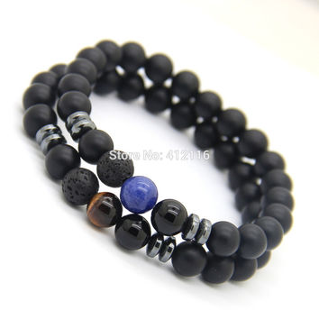 Ailatu New Design Mens Bracelets 8mm Matte Agate Stone Beads Tiger Eye and Blue Veins Lucky Bracelets