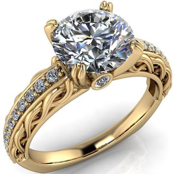 Siv Round Moissanite 4-Double Prong Diamond Scroll Shank Engagement Ring
