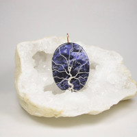 Blue Tree of life Necklace, December gift, Sodalite pendant, Sagittarius necklace Sodalite, December Birthstone pendant, Gift for her tree