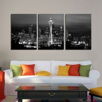 Large Wall Art Seattle Canvas Print - Black and White Seattle Landscape