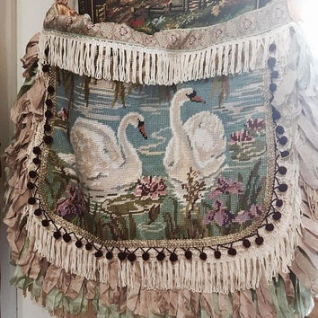 SALE! 40% off!! Sweet Shabby Swans Tapestry Boho Bag Large handmade gypsy travelling carpet Shabby romantic floral fringed Victorian lace Em