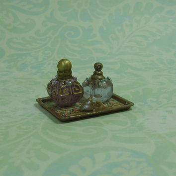 Dollhouse Miniature Vanity Tray with Bottles & Seashells