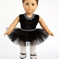 Black Swan - 3 piece ballerina outfit - Black Leotard, Tutu, Tights and Ballet Shoes - 18 inch American Girl Doll Clothes (doll not included)