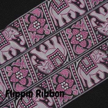 Elephant Ribbon with Pink Design, 2 Yards, 1 1/2 inch Jacquard