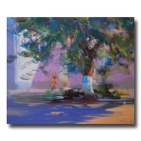 Lilac Landscape Painting Colorful Wall Art Blue Canvas Art by Yuri Pysar