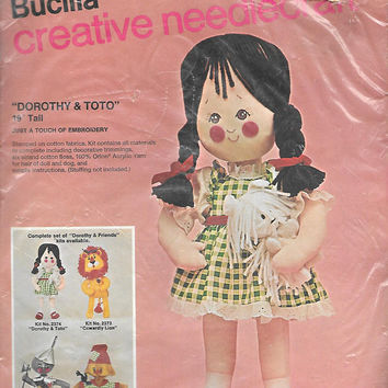 Bucilla Needlecraft Doll Kit Dorothy & Toto Wizard of Oz Kit No. 2374 Unopened Stuffed Doll  DIY Vintage