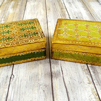 Vintage Italian Florintine Boxes, Set of Two