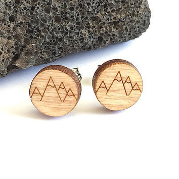 Mountain Earrings /Mountain Stud Earrings / Laser Cut Wood Earrings/ Mountain Range Wood Studs/ Hipster Earrings / Mountain Jewelry