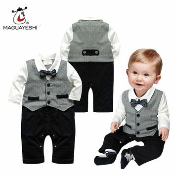 Spring baby romper newborn infant clothing tie gentleman bow leisure overalls baby boys jumpsuits brand clothes roupas de bebes