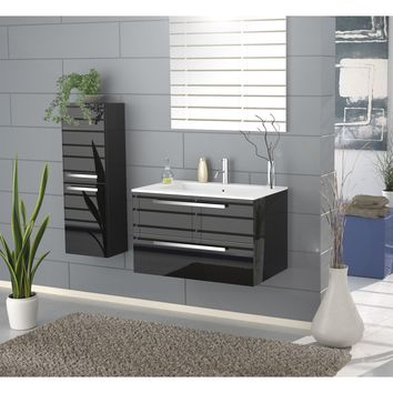 Ambra 34 in. Wall Mounted Bathroom Vanity Cabinet Set Bath Furniture