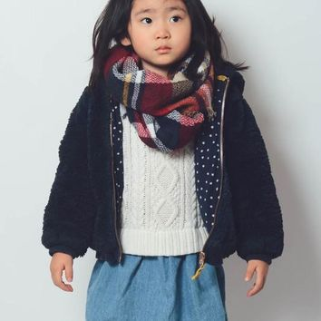 Girls Plaid Blanket Scarf - Red