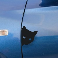 Dewtreetali 12*15CM CAT FACE PEAKING Car Sticker Decals Decorative Stickers For Car Window or Body