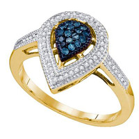 Blue Diamond Ladies Fashion Ring in 10k Gold 0.25 ctw