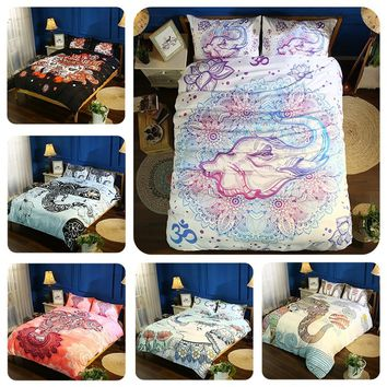 New 100% Cotton 3d Lifelike White Elephant 3D Bedding Set of Duvet Cover Bed Sheet Pillowcases
